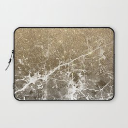 Vintage black white gold glitter marble Laptop Sleeve