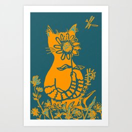cat obscured by flower Art Print