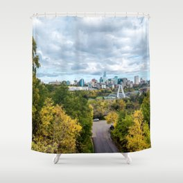 Painting of Warm Autumn Day Over Downtown Edmonton AB During Fall 2019 Shower Curtain