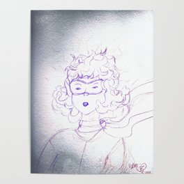 Determination of a young Amelia Earhart,colored pencil sketch Poster