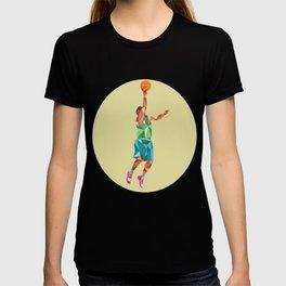 Basketball Player Lay Up Rebounding Ball Low Polygon T-shirt