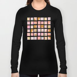 Modern Graphic Shapes in Pink and Gold Long Sleeve T-shirt
