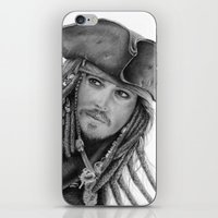 jack sparrow iPhone & iPod Skins featuring Captain Jack Sparrow by Celeste Roddom
