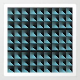 Blue and Black Tiles Art Print