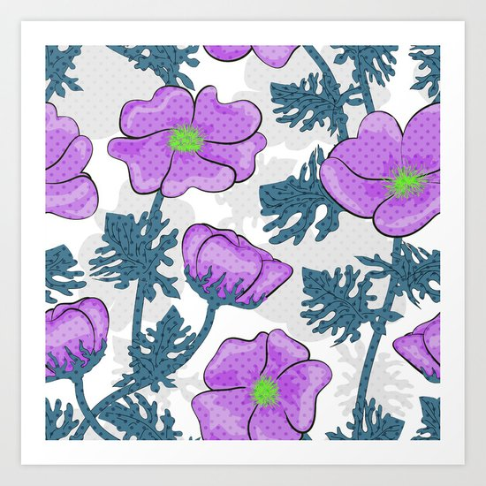 Flowers pink on white background. Art Print