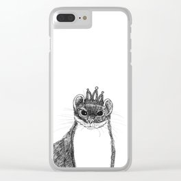 flapper weasel wearing a glittering tiara Clear iPhone Case