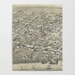 Vintage Pictorial Map of Moncton NB (1888) Poster