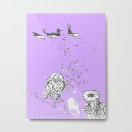 Two Tailed Duck and Jellyfish Purple Grape Metal Print