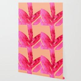 Peach Pink Ferns, Living Coral Wallpaper