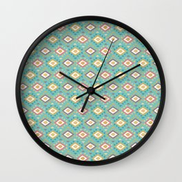Vintage geometrical teal yellow orange green triangles tribal pattern Wall Clock