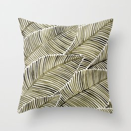 Tropical Leaves – Taupe Palette Throw Pillow