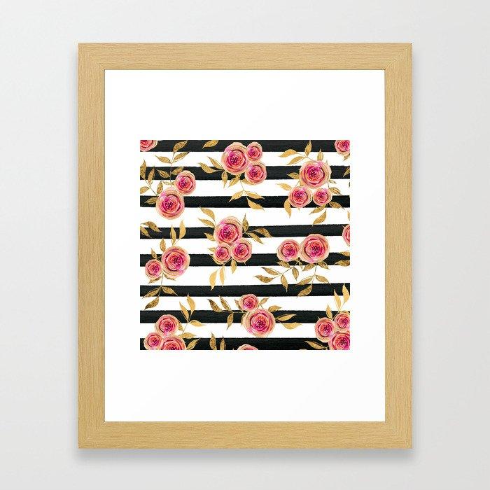 Girly Modern Pink Gold Flowers Black White Stripes Framed Art Print