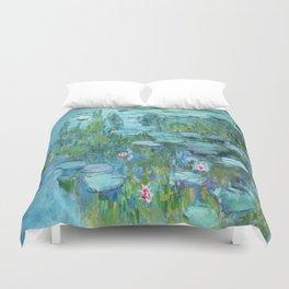 Claude Monet Water Lilies / Nymphéas teal aqua Duvet Cover