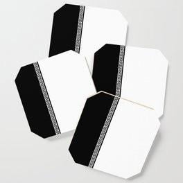 Greek Key 2 - White and Black Coaster