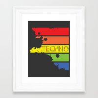 techno Framed Art Prints featuring Techno by Adnan Kostic