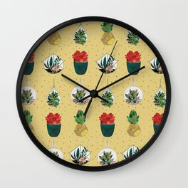 Gold Festive Succulents Wall Clock