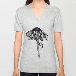 Wilted Flower Ink Drawing Unisex V-Neck