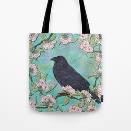 Raven and Apple Blossom Tote Bag