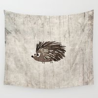 hedgehog Wall Tapestries featuring Hedgehog by Mr and Mrs Quirynen