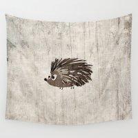 hedgehog Wall Tapestries featuring Hedgehog by Mr & Mrs Quirynen