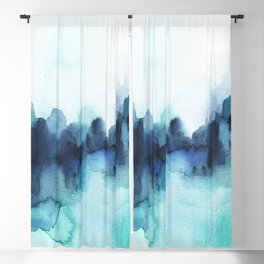 Wonderful blues Abstract watercolor Blackout Curtain