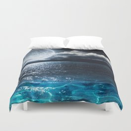 Full Moon over Ocean Duvet Cover