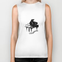piano Biker Tanks featuring Piano by Azure Cricket