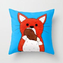 Turkey Leg Fox Throw Pillow