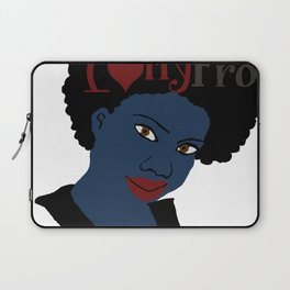 I Love My AFro Blue Hair WordArt Natural Hair Laptop Sleeve