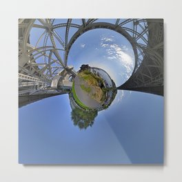 Fremont Bridge Tiny Planet Metal Print