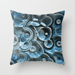 Reflections of A Fractal Fossil Throw Pillow