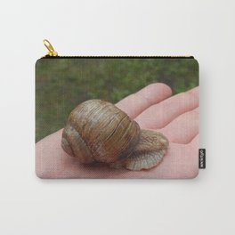 Snail crawling the green grass in garden Carry-All Pouch