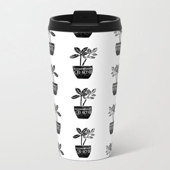 Rubber Plant linocut lino printmaking illustration black and white houseplant art decor dorm college Metal Travel Mug