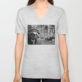 Sloth in Rome in front of Trevi Fountain Unisex V-Neck