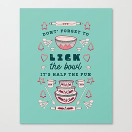 Don't Forget to Lick the Bowl Vintage Christmas Canvas Print