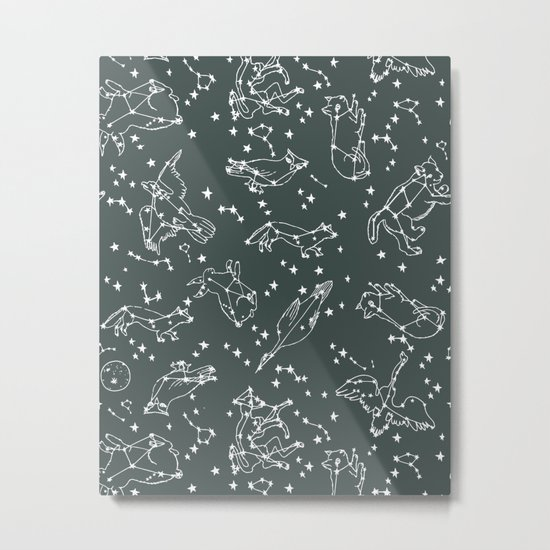 Animal Constellations - Gray by Andrea Lauren Metal Print