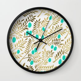 Gold & Turquoise Olive Branches Wall Clock