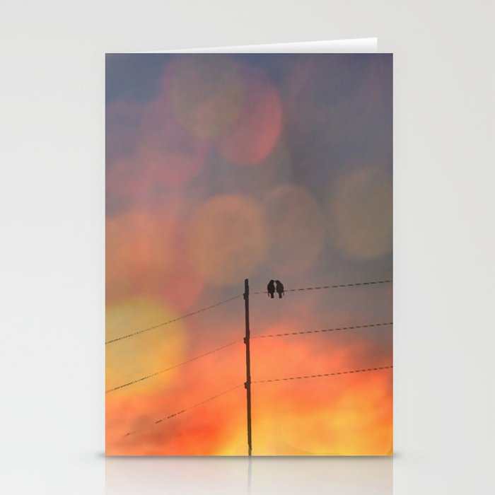 Love birds in the sunset Stationery Cards