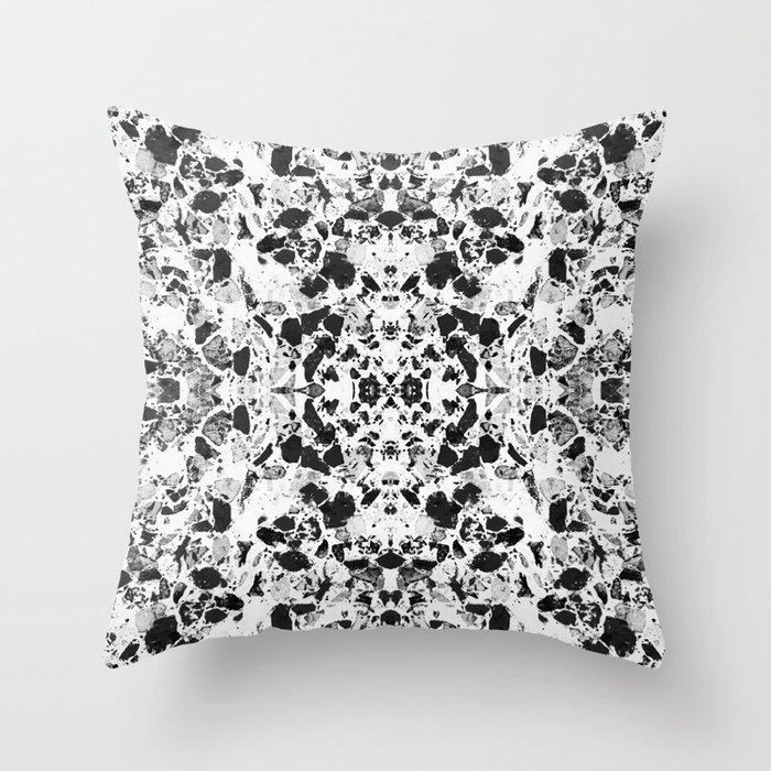 Beautiful Black And White Terrazzo Tile Throw Pillow
