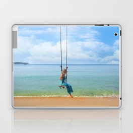 Woman relaxing on a swing on the beach , koh Samui, Suratthani, Thailand Laptop & iPad Skin