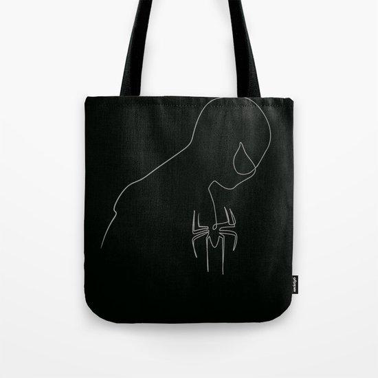 One line Black Spider Man Tote Bag