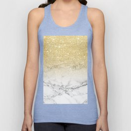 Modern faux gold glitter white marble color block Unisex Tank Top