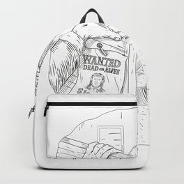Cowboy Robbing Saloon Drawing Backpack