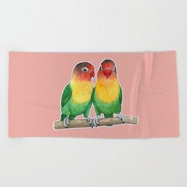 Fischer's lovebirds Beach Towel