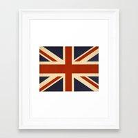 british flag Framed Art Prints featuring British Flag Vintage Illustration by MY  HOME