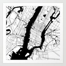 New York City White on Black Art Print
