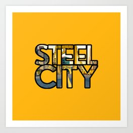 Pittsburgh Steel City Skyline Bridge Text 412 Pennsylvania Gold Art Print