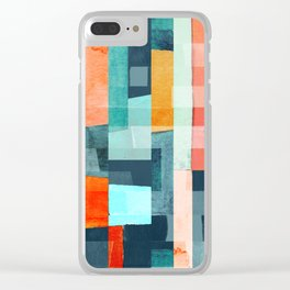 Colorful Geometric Watercolor Rectangle Pattern Cool Pastel Colors Clear iPhone Case