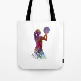 Young woman basketball player 03 in watercolor Tote Bag