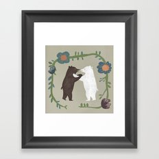 Hugging bears Framed Art Print